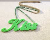 Kiss Word Laser Cut Acrylic Green Necklace