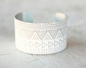 Cuff Bracelet - Minimalist Jewelry - Grey and White Bracelet - Large Metal Cuff - Aluminum Cuff - Large Cuff Bracelet (254)
