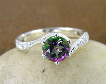 Mystic Topaz & Swarovski Crystal Ring in 925 Sterling Silver. Silver Mystic Green Topaz Engagement Ring