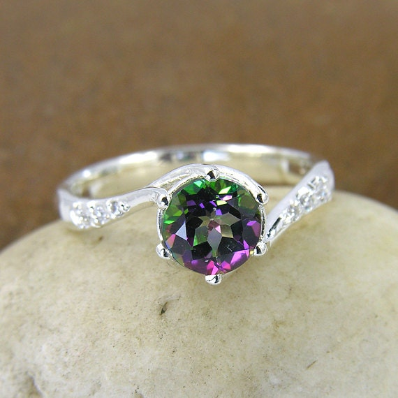 mystic topaz swarovski crystal ring in 925 sterling silver. Black Bedroom Furniture Sets. Home Design Ideas