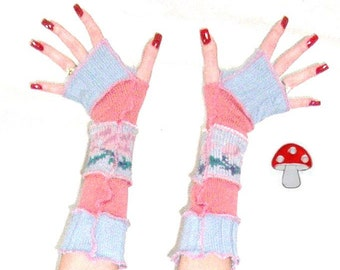DEPOSIT Special Order Aiyana Arm Warmers Fingerless Gloves Dusty Rose Patterns Pink And Light Blue Armwarmers Floral Wrist Warmies Mittens