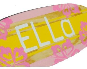 Surfboard Art, Girls Nursery Decor, Personalized Baby Shower Gift