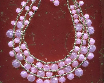 SALE! West Germany Fizzy Pink Beaded Cha Cha Necklace