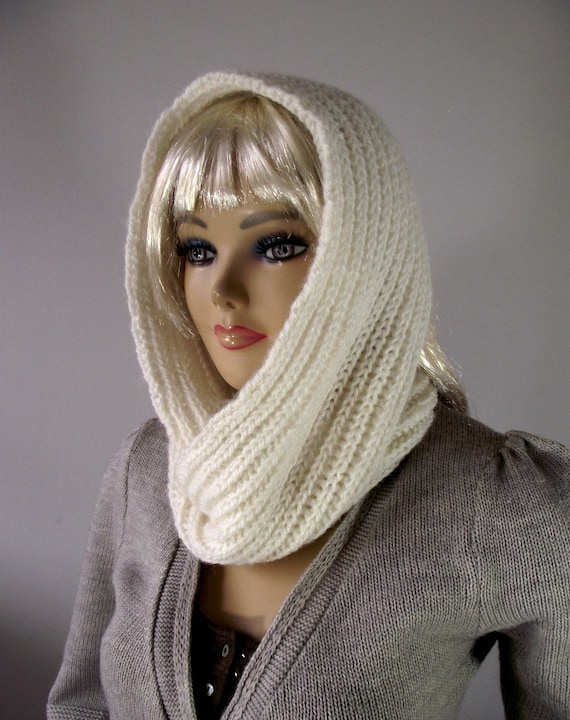 Knitting Pattern Infinity Scarf Hood : KNITTING PATTERN HOOD Scarf I love Snow Hooded Infinity