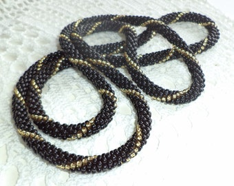 Crocheted Beaded Necklace or Bracelet  - Black and Gold