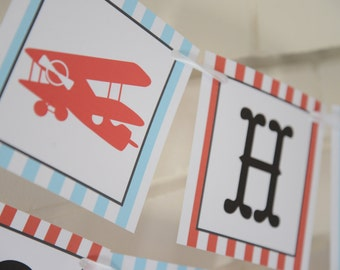 Vintage airplane happy birthday banner-blue and red