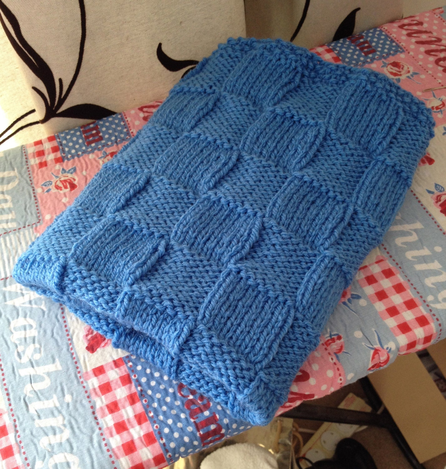 Knitted Sock Pattern Free : Easy Knitting Pattern Chunky Check Pram Blanket Basketweave