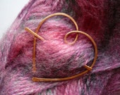 Reserved for Angela - Shawl Pin Brooch - Copper Heart