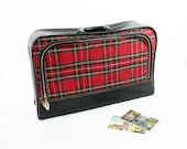 Red Tartan Plaid Cloth Suitcase