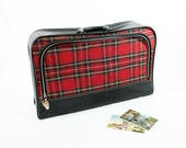 Red Tartan Plaid Cloth Suitcase
