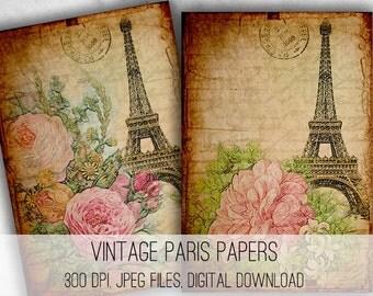Digital Images - Digital Collage Sheet Download - Vintage Paris Papers -  1043  - Digital Paper - Instant Download Printables