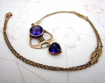 "CLEARANCE SALE Incredible rare Rikers Brothers Victorian 14k gold and amethyst heart cabochon necklace 21"" long - faceted circular amethyst"