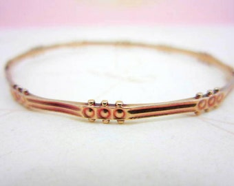 CLEARANCE SALE 18k victorian aesthetic movement rose gold bangle bracelet - authentic thin bangle