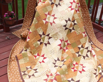 "Queen Handmade Quilt ""Star Album"" Fig Tree Fabrics by Moda - Handmade quilt-"