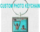 Custom Photo Keychain Key Ring Key Chain - Photo of Your Choice - SQUARE or ROUND