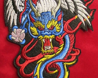 Extra Large Embroidered Chinese Dragon Applique Patch, Jacket Patch, Biker Patch, Iron On or Sew On Patch, Fiery Dragon, Tattoo Dragon