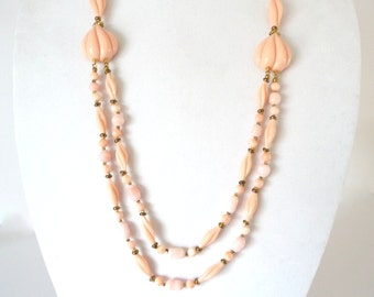 Vintage Miriam Haskell Necklace Signed Pink Coral Glass Beads
