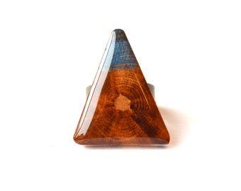 Color block triangle Statement Ring . Geometric wood jewelry .  Triangle ring .  Starlight Woods . eco friendly