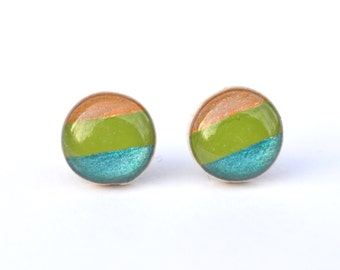 Striped stud earrings. Striped studs. Striped post earrings eco friendly jewelry, wood earrings, minimalist jewelry eco fashion for her