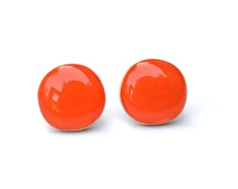 Orange Stud Earrings. Orange Post Earrings. Orange Earrings. Orange Studs. Wood Earrings. Hypoallergenic