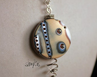 Polymer Clay Pendant - with wire - WEARABLE ART!!!