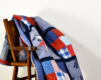 Blue Baby Quilt, Cowboy Quilt, Blue Play Mat, Red White & Blue Quilt, Baby Shower