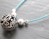 SALE Flower orb necklace. Blue surf cord and summer necklace with beads