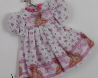"Girl's Dress in 1"" Scale for Your Dollhouse"