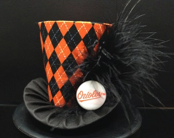 Baltimore Orioles Mad Hatter Mini Top Hat for Game Day, Weddings, Bachelorette Party, Bridal Shower, Photo Prop