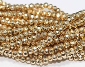 """Gold Pyrite Beads 6 1/2"""" Strand Drilled Golden 3.5mm Rondelle Faceted Gemstone Beads Take 10% Off Bridal Pyrite Jewelry Craft Supplies Sale"""