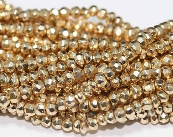 Gold Pyrite Beads 5 to 13 Inch Strand Drilled 3.5mm Rondelle Semiprecious Faceted Gemstones Take 10% Off Bridal Jewelry Craft Supplies Sale