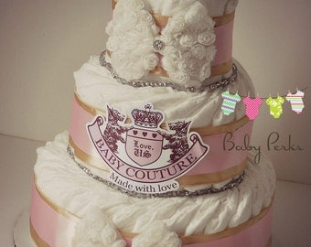 Couture Inspired Baby Shower , Baby Couture Diaper Cake