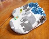 Organic Baby shoes--Happy Elephants--ORGANIC Cotton--Fully Reversible