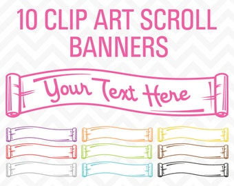 80% OFF Sale Clipart Ribbons, Clipart Banners, Clipart Scroll, Vintage Clipart, Clip Art Ribbons, Clip Art Banners, Blog Clipart