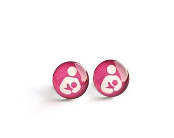 Nursing post earring (pink), Surgical steel studs, Breastfeeding symbol earring, Tiny earring studs, Resin posts