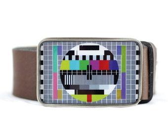 TV Test Pattern Belt Buckle, Monoscope Belt Buckle, Retro Belt Buckle