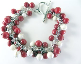 "Red and white cha cha bracelet   (7"")"