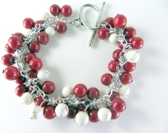 Red and white cha cha bracelet