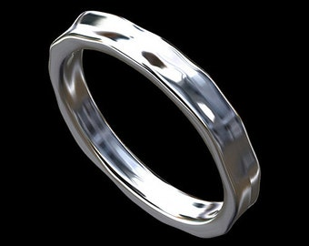Hammered Finish Women's Wedding Ring, Eternity Hammer Band, Solid Gold Wedding Ring Band, Unique Plain Women's Wedding Ring 3mm Wide