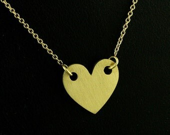Engravable Heart Necklace, Gold Charm Heart, Love Sign Disc Necklace, Satin Matte Finish Heart, Personalize Heart Disc, Gold Petite Charm