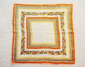 Vintage Linen Handkerchief Fall Colors Floral in Orange Gold Green Taupe