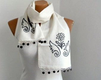 Cream Scarf, Women Scarves, Hand Stamp Cotton Scarf, Gift under 25, Gift for mom