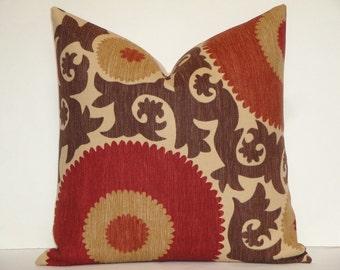 """Decorative Pillow Cover- 18"""", 20"""", 22"""", 24"""" - Fahri In Clove - Suzani - Red - Rust - Warm Brown - Tan"""
