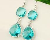 Sea Green Earrings - Blue Silver Drop Earrings - Teal Blue Green Bridesmaid Earrings - Wedding Jewelry
