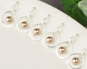 Pearl Bridesmaids Jewelry SET OF 4 - 8% OFF Pearl Bridesmaid Earrings - Sterling Silver Infinity Earrings - Bronze Pearl Drop Earrings