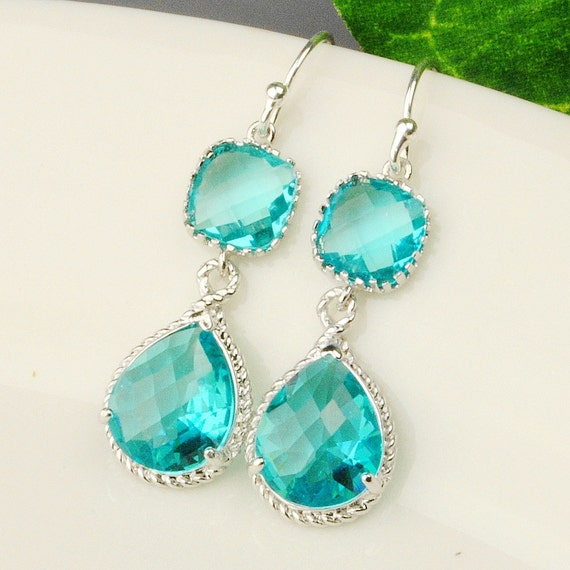 sea green earrings drop earrings silver teal blue