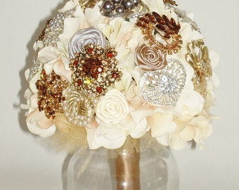SILVER, TOPAZ, Champagne, Ivory, Silk Jeweled BROOCH Bouquet, Heirloom Brooch Bouquet, Bridal Broach Bouquet, Large Size, Custom Order