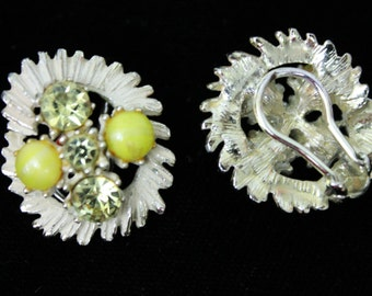Vintage Yellow and Silver Rhinestone Clip On Earrings
