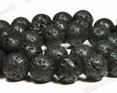 6mm Black Natural Lava Rock Beads - 15.5 Inch Strand - Round Lava Beads - BB1
