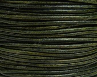 2mm Natural Dark Green Premium Leather Cord - 3 Yards / 9 Feet / 2.74 Meters - BL27